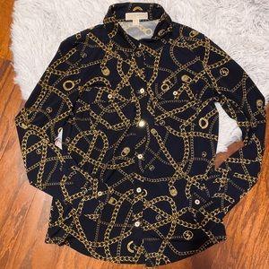 Michael Kors Gold & Black Chain linked blouse